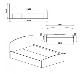 Кровать НЕЖНОСТЬ -160 МДФ