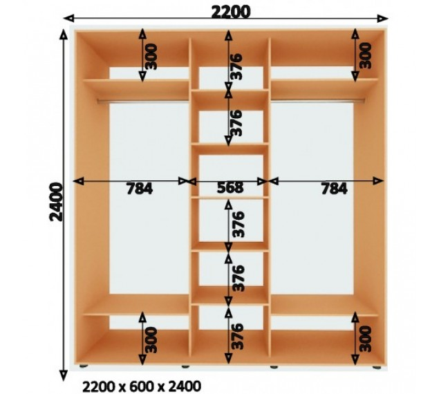 Шкаф-Купе (ШК-4) 2200х2400х600