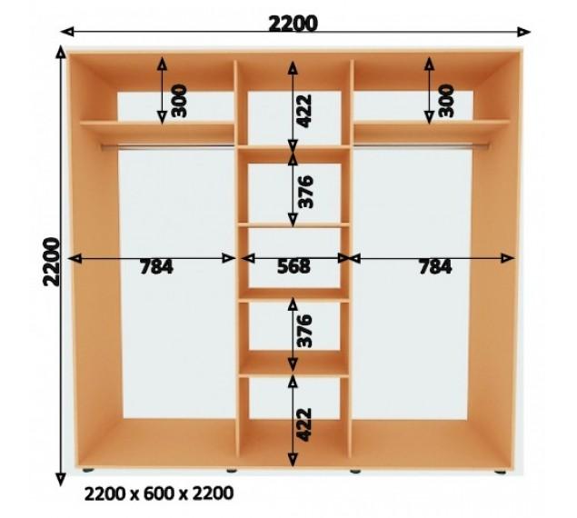 Шкаф-Купе (ШК-4) 2200х2200х600